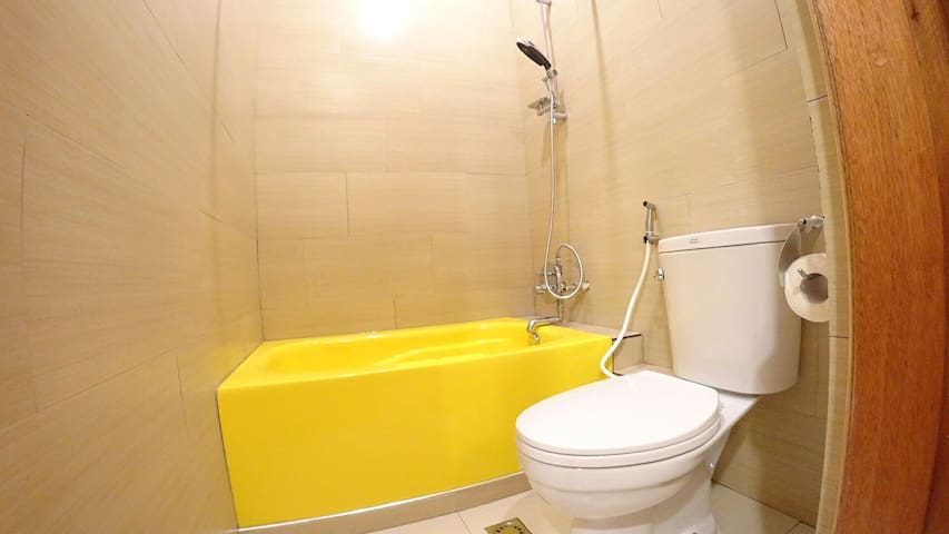 Bathtub not usable cause of the current water shortage. Price adjusted accordingly. Hot shower is available.