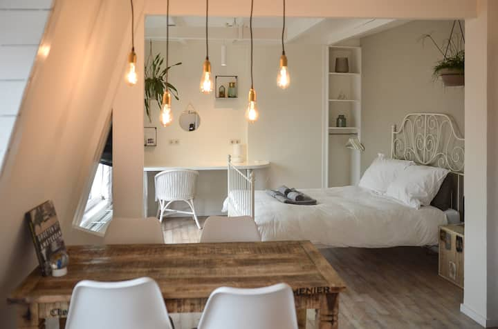Private cosy light studio in Old-west with airco
