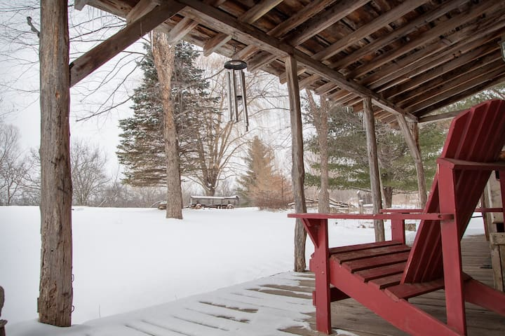 Winter view from the cabin porch