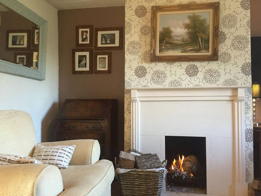 Open fire in cosy living room.