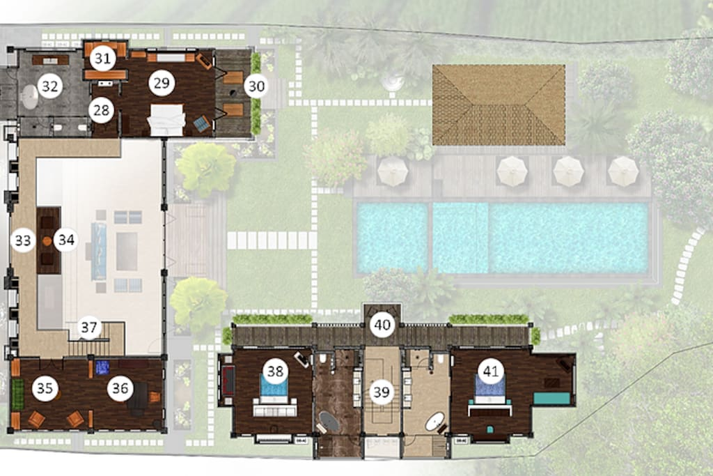 Upper floor plan: 28. Master Suite entrance area 29. Master Suite bedroom 30. Master Suite balcony 31. Master Suite Walk-through closet 32. Master Suite bathroom 33. Gallery walk 34. Gallery sitting area 35. Library 36. Office/work area 37. Staircase to main house lower floor 38. China Suite 39. Staircase to guest house lower floor 40. Observation balcony 41. Canggu Suite