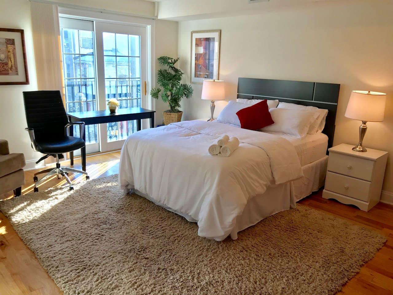 Large room, private bath, Juliet balcony & sliding door