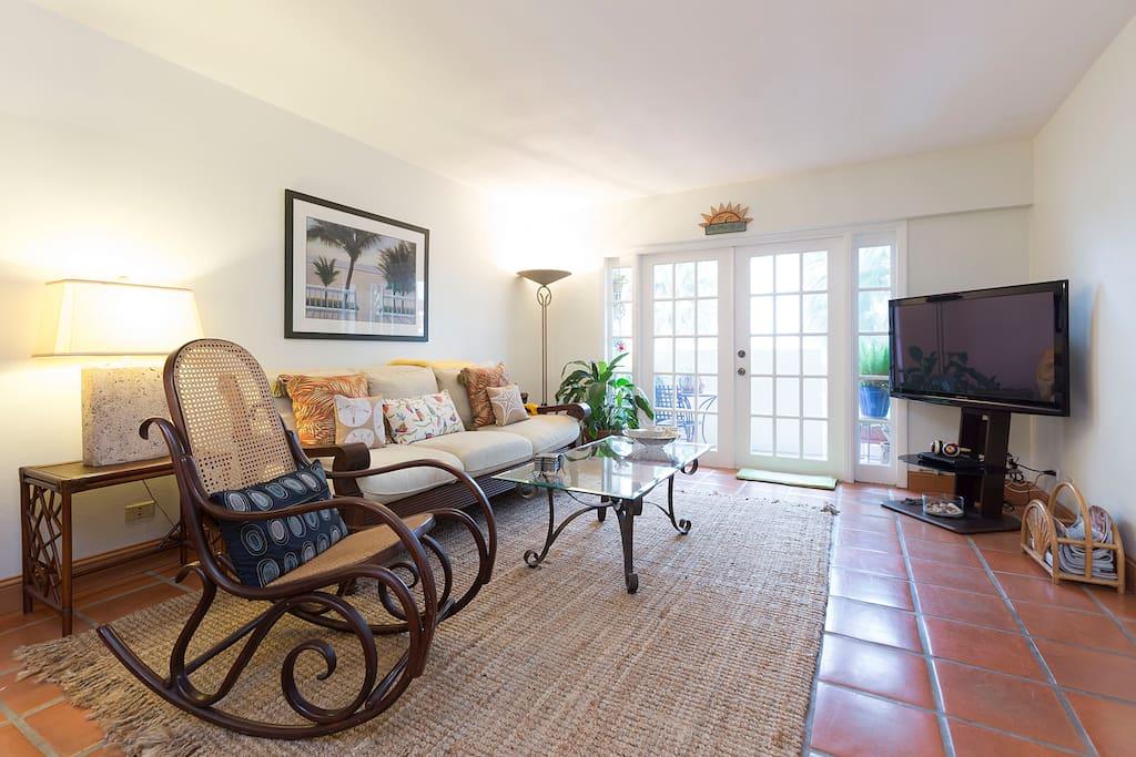 Living room and door to balcony.