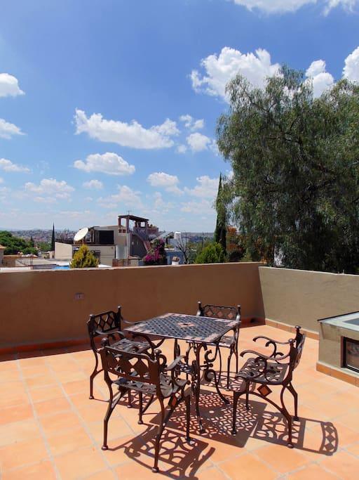 The rooftop terrace overlooking San Miguel.