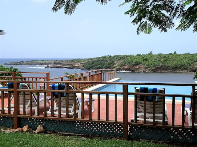 Infinity pool overlooking Crochu Bay