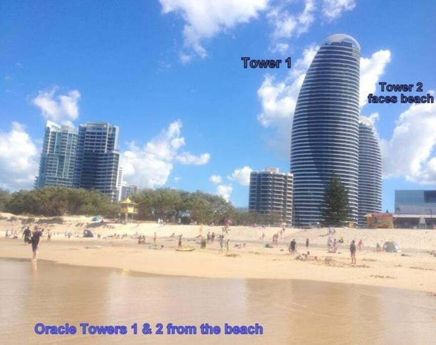 From beach,