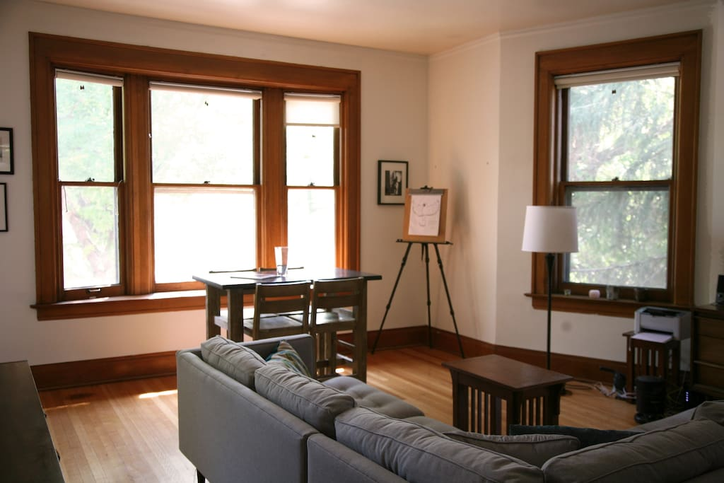 Original wood floors and molding add a warmth to the space.