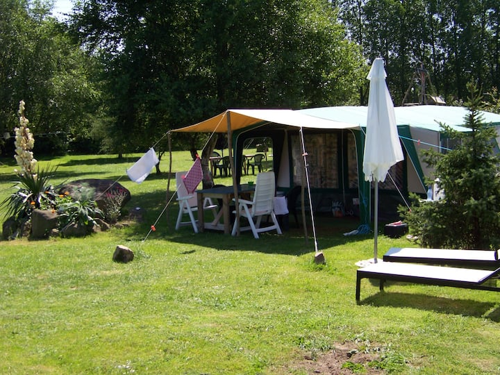 Rent a tent with private toilet and sink, Brittany