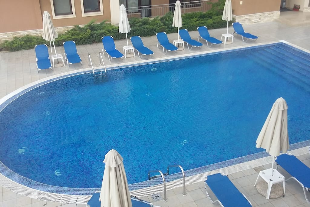 View from terace to pool