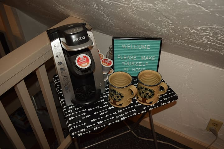 a Keurig brewer is also provided for your convenience