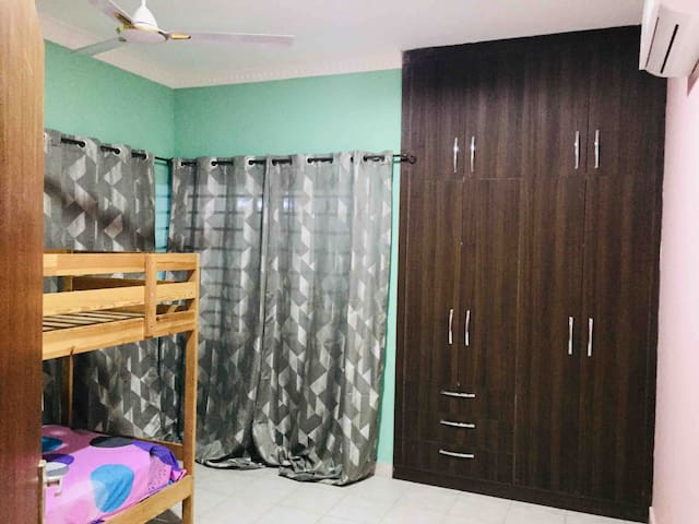 Kids bedroom with bunk bed and Aircondition