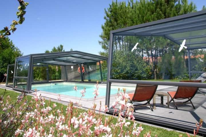 Studio lumineux avec accès à piscine et jardin