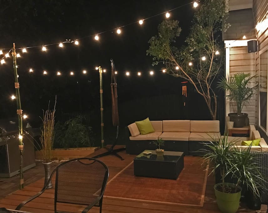Night time patio set, great for hanging out with friends or family, cooking, listening to music