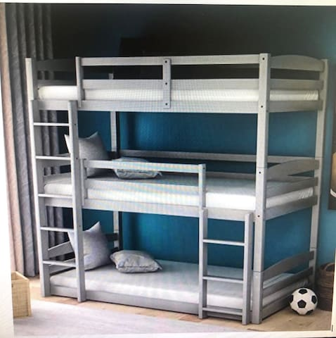 Second floor Triple bunk bed room with one twin bed
