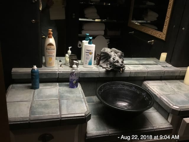 Gargoyle bathroom. Our water tastes good. But is hard. Be sure to use lotion after shower. Fluffy towels and a hair dryer.