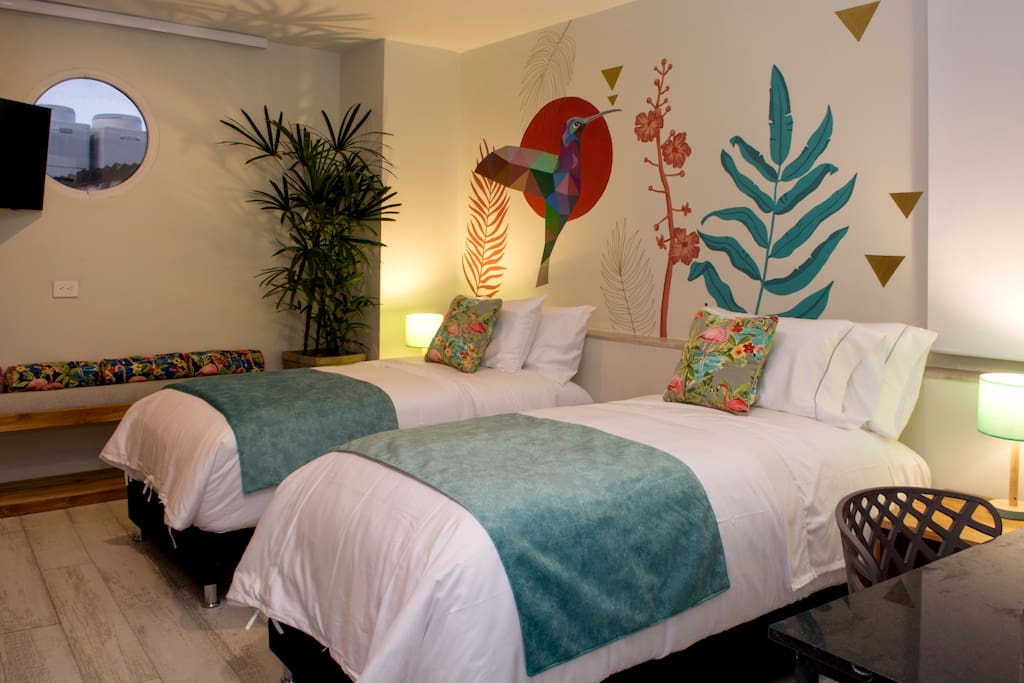 Twin beds can be switched for 1 King bed