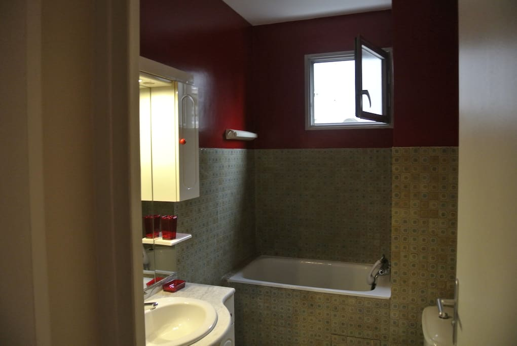 Salle de bain avec baignoire douche, lave linge
