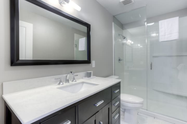 Pristine bathroom feels clean and fresh