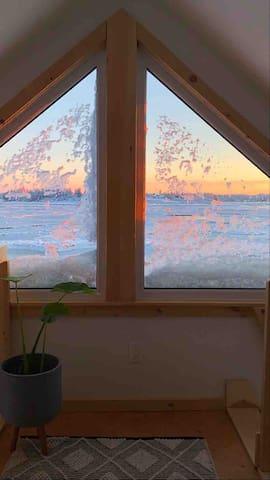 Winter view from loft bedroom