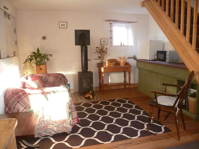 Downstairs reception area with wood burning stove, including a log basket of dry logs.  Table top fridge, toaster, microwave, kettle, cafetiere, plates, mugs, wine glasses, bowls, knives, forks and spoons provided.
