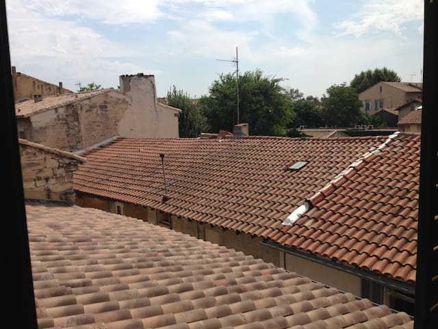 Private room overlooking Avignon rooftops
