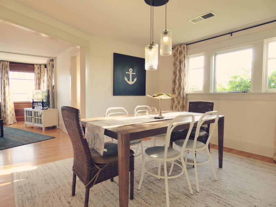 Entertain and dine in the spacious dining room with room for six
