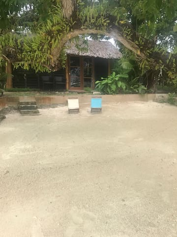 View from beach to bungalow