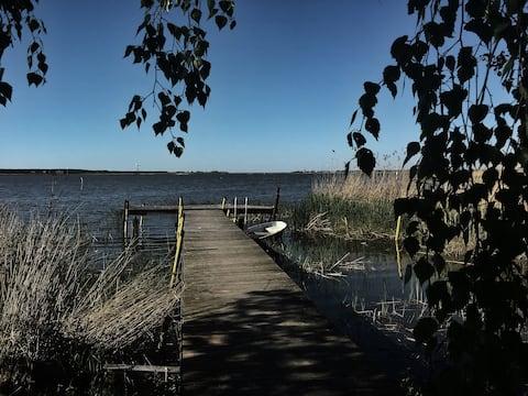 Haus am See mit Seeblick Bootssteg Ruderboot Sauna