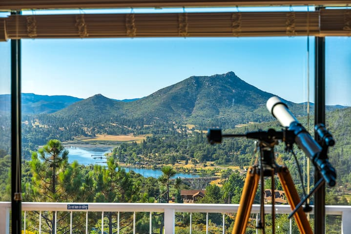 Views to Lake Cuyamaca and the Pacific Ocean on clean days