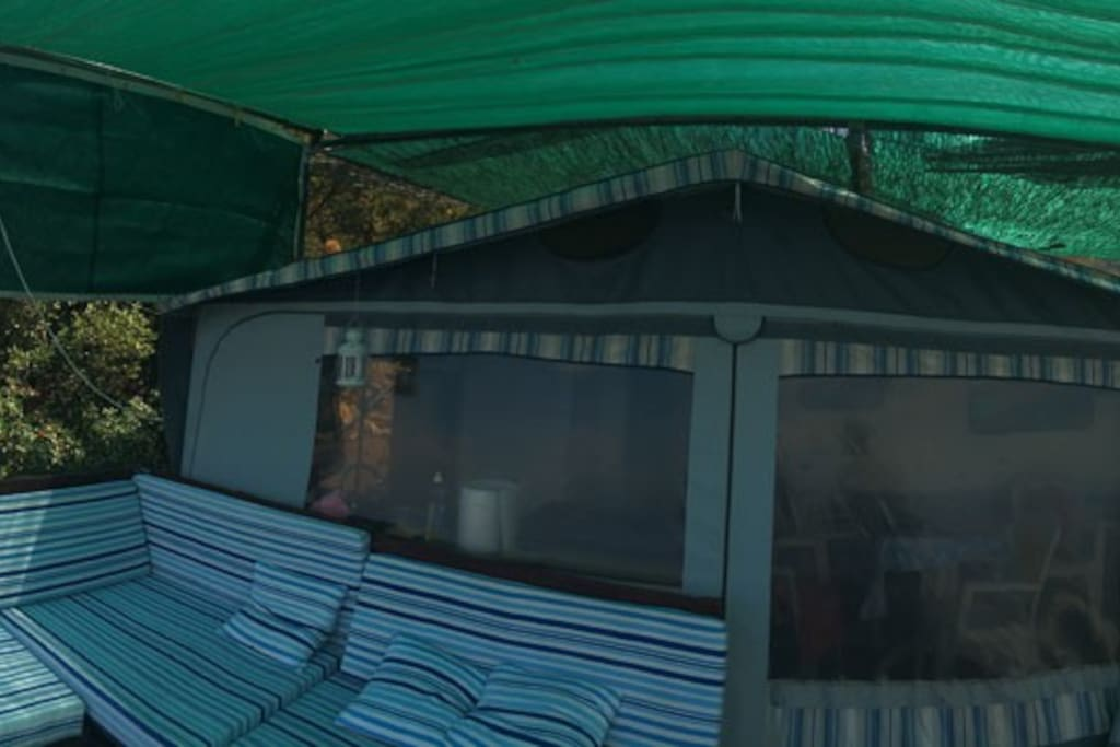 Panorama View of the Caravan and the terrace.
