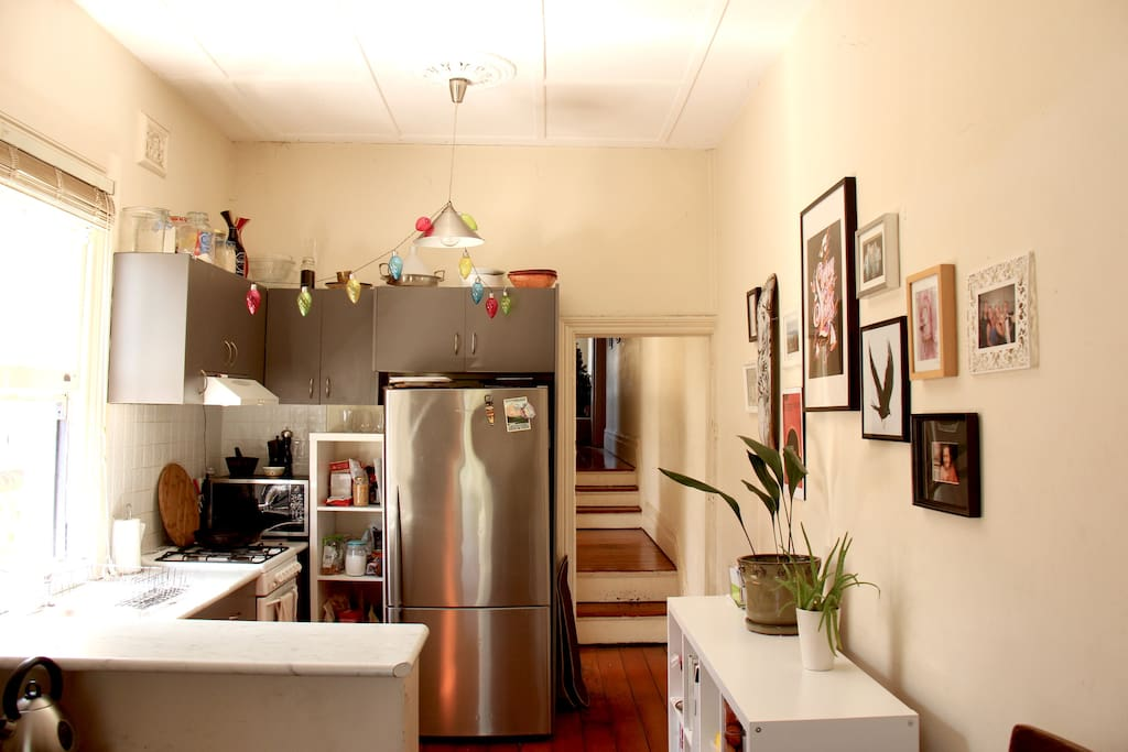Festive and functional kitchen and breakfast bar.