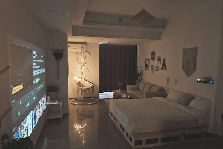《留白》高清投影/波西米亚木质风/超大落地镜/干湿分离浴室/超大房间