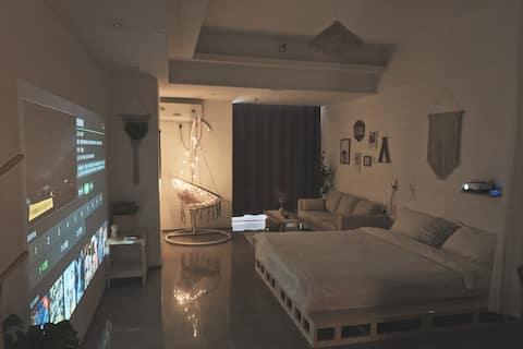 《留白》暖气/高清投影/波西米亚木质风/超大落地镜/干湿分离浴室/超大房间