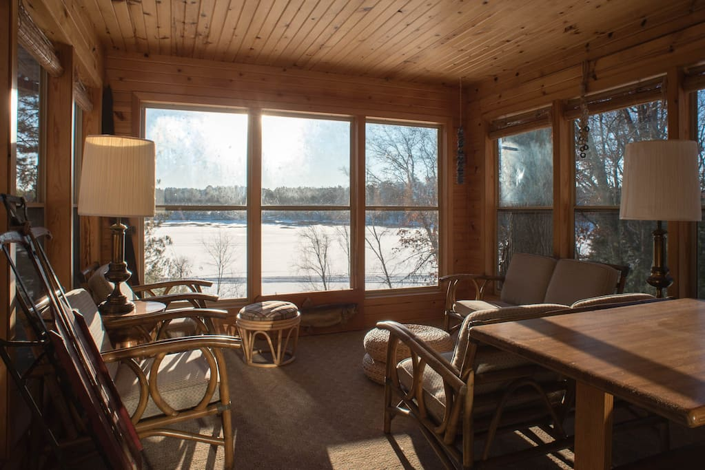 The sunroom (is not warm in the winter).