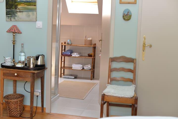 Tea making facilities and entry to luxury en-suite bathroom