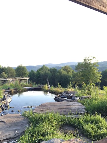 The living swimming pool is very private, and surrounded by large flat rocks. Guest have the freedom to enjoy the Vermont tradition of skinny dipping and clothes free sunbathing, or even yoga and napping.