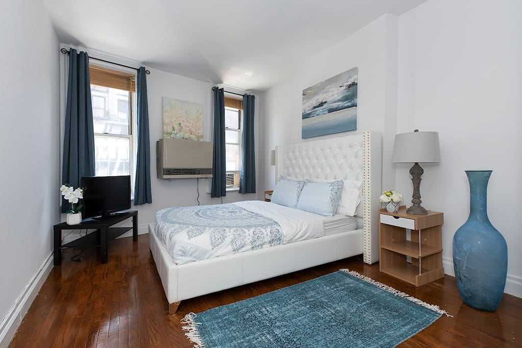 A gorgeous master bedroom with everything you need for a relaxing stay