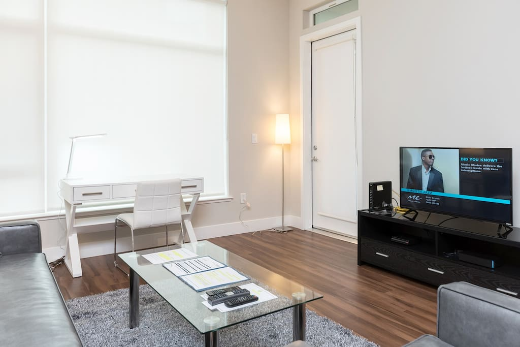 Spacious comfortable living room with pullout sofa bed and club chair and door to balcony