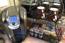 Fully stocked coffee & tea station, wine glasses & bottle opener.