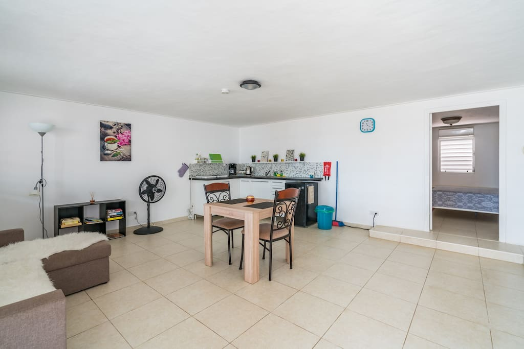 Living space with brand new kitchen