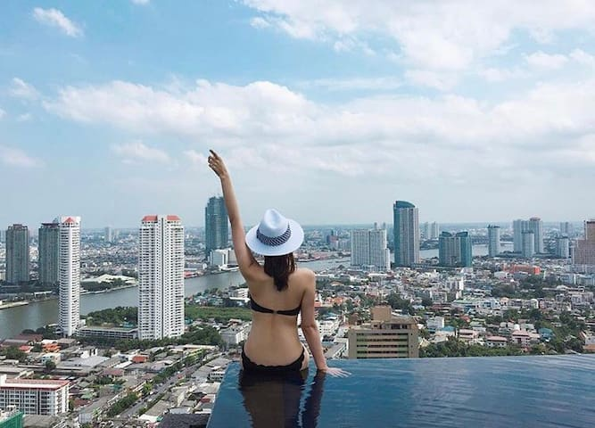 ROOFTOP INFINITY POOL GYM RIVER VIEWS IN❤️ BKK - Bangkok - Condominium