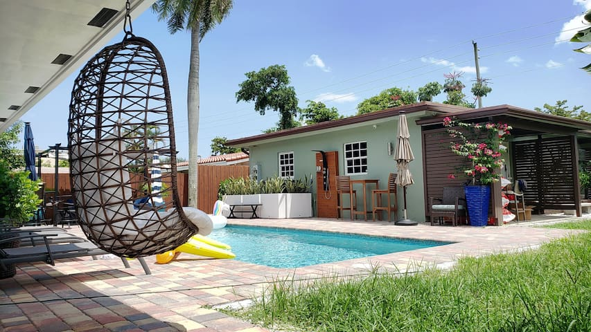Private Studio with Heated Pool Laundry and More