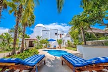 Casa Bella located on beautiful Yalku Lagoon and the Caribbean sea. Akumal, Mexico. 3 bedroom main house with a 2 bedroom guest house.