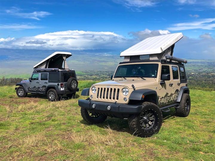 Maui's only Pop-Top 4x4 Jeep Camper (Tan)