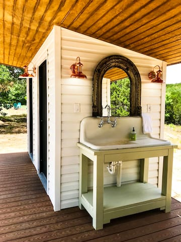 Antique 1920's farmhouse sink salvaged from a local historic property.