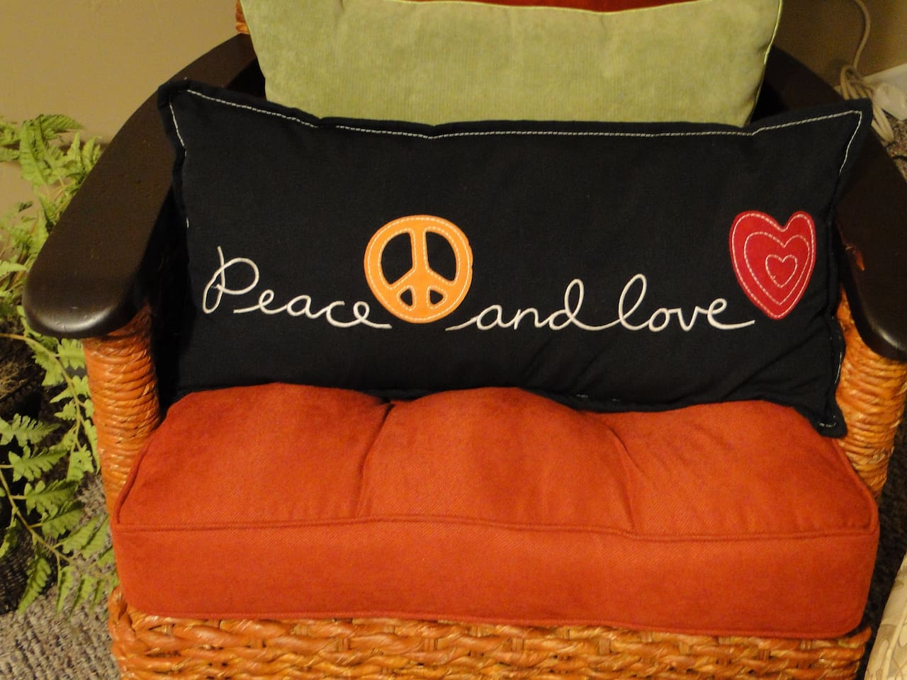 A flavor of the decade of peace and love awaits you. This comfy chair is in the master bedroom.