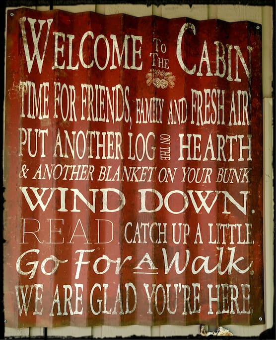 Welcome sign at front door