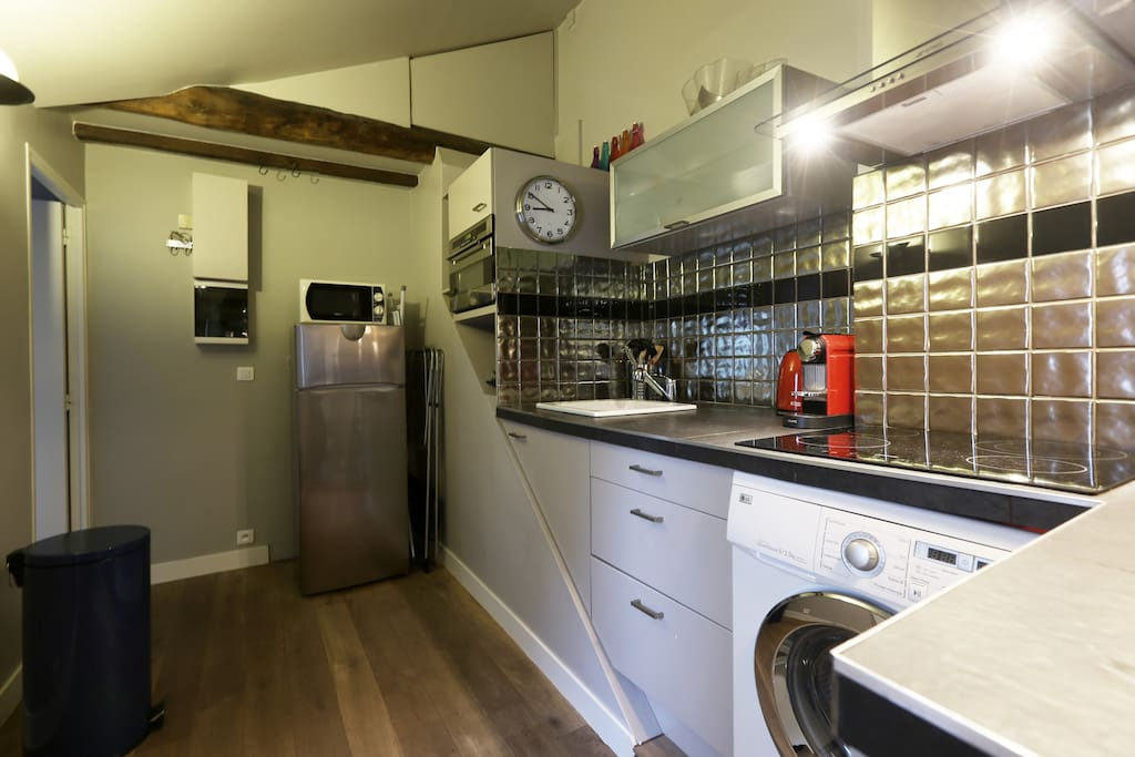 the fully furnished kitchen with washning machine, american fridge, induction hotplates....