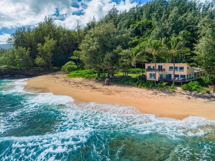 Beach front, Private home, Kauai, Modern luxury, Haena Beach House TVNC#1258