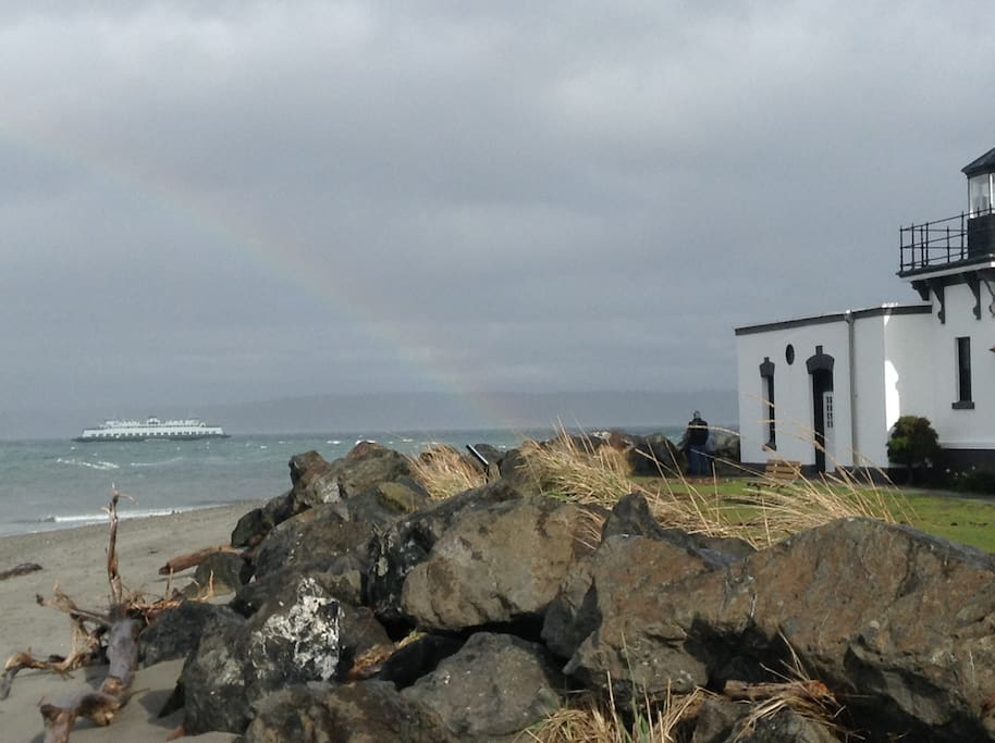 Rainbow over Hansville's beautiful beach and lighthouse